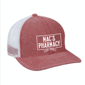 mac's pharmacy trucker hat red